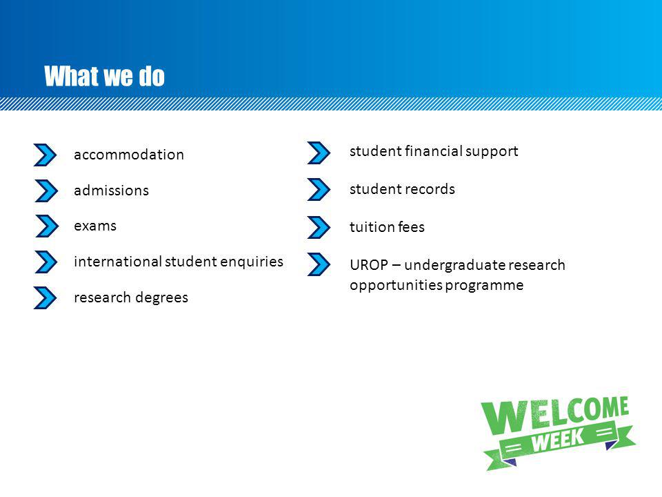What we do accommodation admissions exams international student enquiries research degrees student financial support student records tuition fees UROP