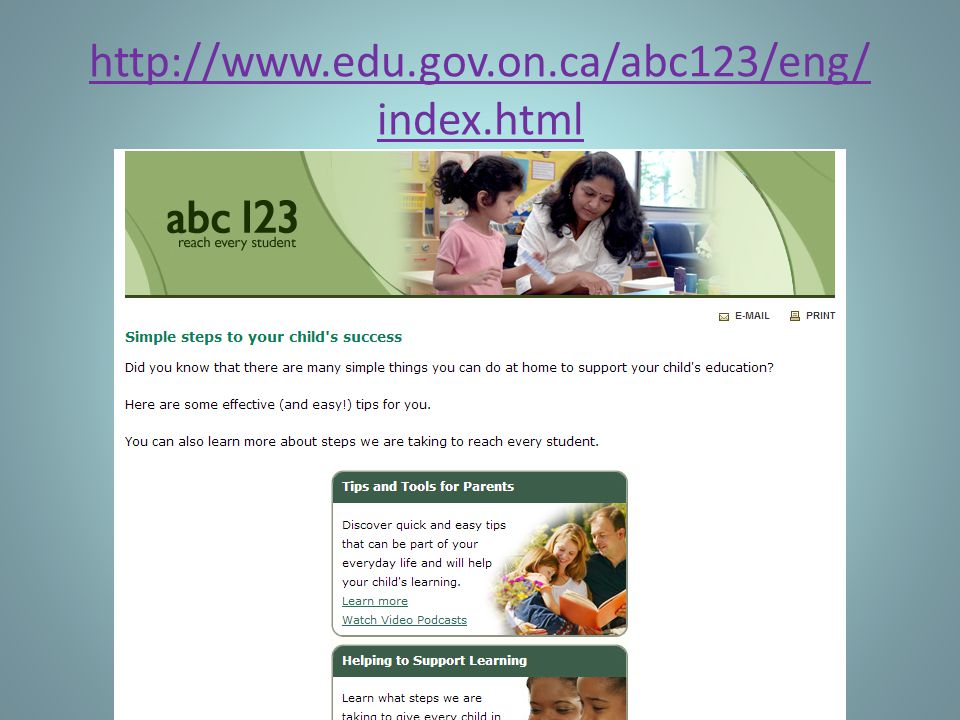 http://www.edu.gov.on.ca/abc123/eng/ index.html