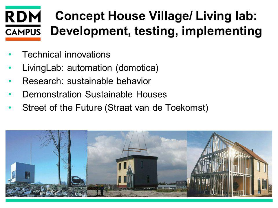 Concept House Village/ Living lab: Development, testing, implementing Technical innovations LivingLab: automation (domotica) Research: sustainable behavior Demonstration Sustainable Houses Street of the Future (Straat van de Toekomst)