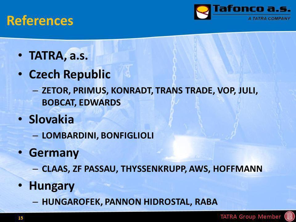 References TATRA, a.s. Czech Republic – ZETOR, PRIMUS, KONRADT, TRANS TRADE, VOP, JULI, BOBCAT, EDWARDS Slovakia – LOMBARDINI, BONFIGLIOLI Germany – C