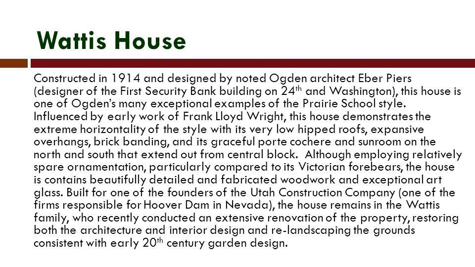 Bibliography Carter, Thomas and Peter Goss.Utahs Historic Architecture, 1847-1940: A Guide.