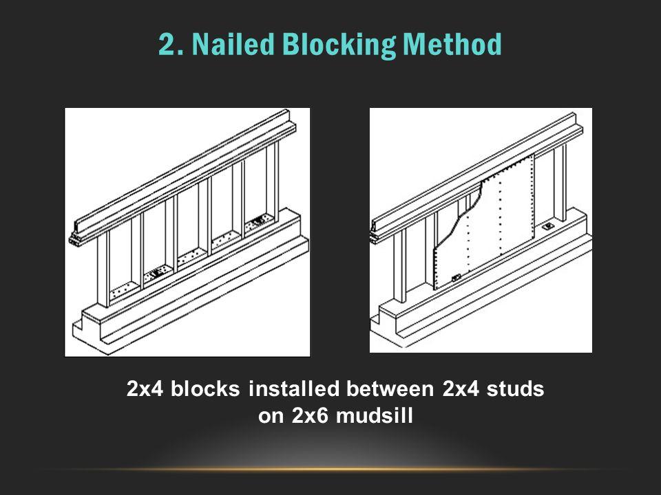 2x4 blocks installed between 2x4 studs on 2x6 mudsill