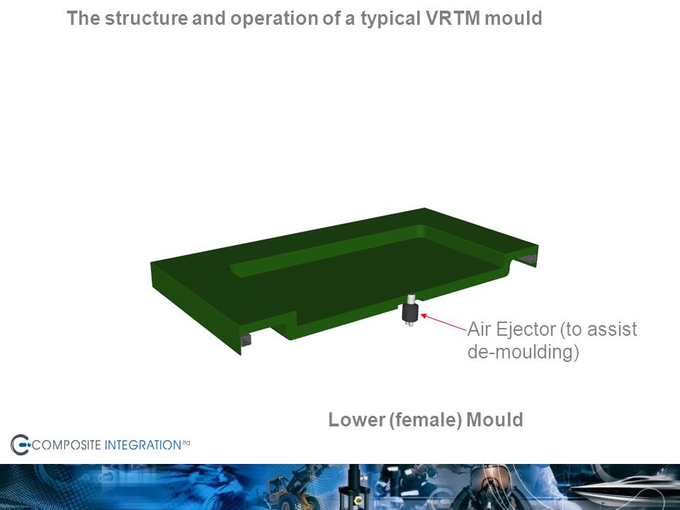 Lower (female) Mould Air Ejector (to assist de-moulding) The structure and operation of a typical VRTM mould