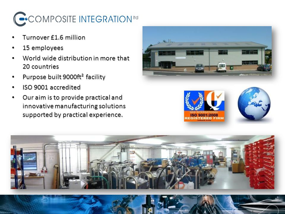 Turnover £1.6 million Turnover £1.6 million 15 employees 15 employees World wide distribution in more that 20 countries World wide distribution in mor