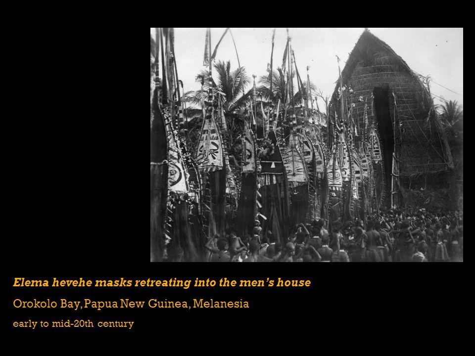 Elema hevehe masks retreating into the mens house Orokolo Bay, Papua New Guinea, Melanesia early to mid-20th century
