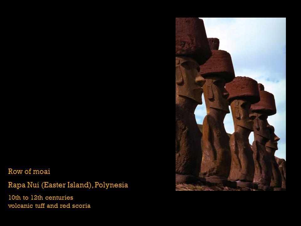 Row of moai Rapa Nui (Easter Island), Polynesia 10th to 12th centuries volcanic tuff and red scoria