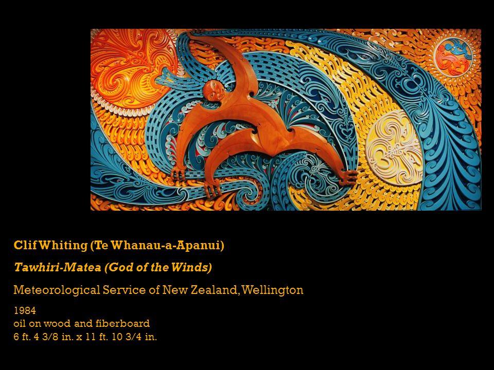 Clif Whiting (Te Whanau-a-Apanui) Tawhiri-Matea (God of the Winds) Meteorological Service of New Zealand, Wellington 1984 oil on wood and fiberboard 6 ft.
