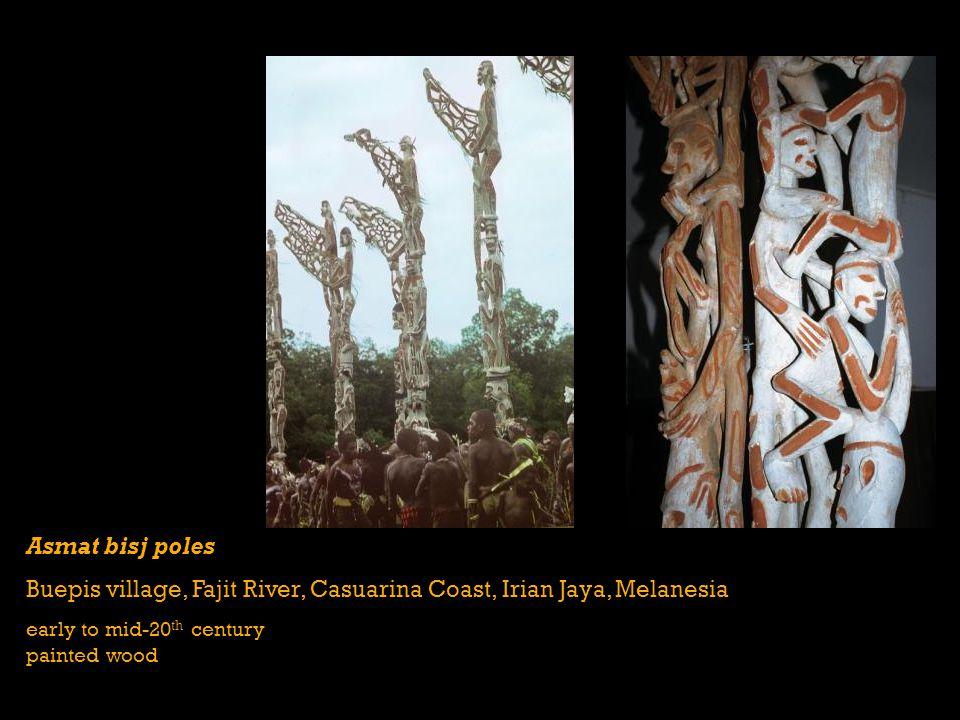 Asmat bisj poles Buepis village, Fajit River, Casuarina Coast, Irian Jaya, Melanesia early to mid-20 th century painted wood