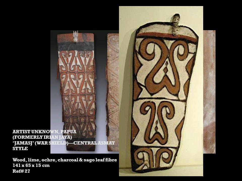 ARTIST UNKNOWN, PAPUA (FORMERLY IRIAN JAYA) JAMASJ (WAR SHIELD)CENTRAL ASMAT STYLE Wood, lime, ochre, charcoal & sago leaf fibre 141 x 65 x 15 cm Ref# 27