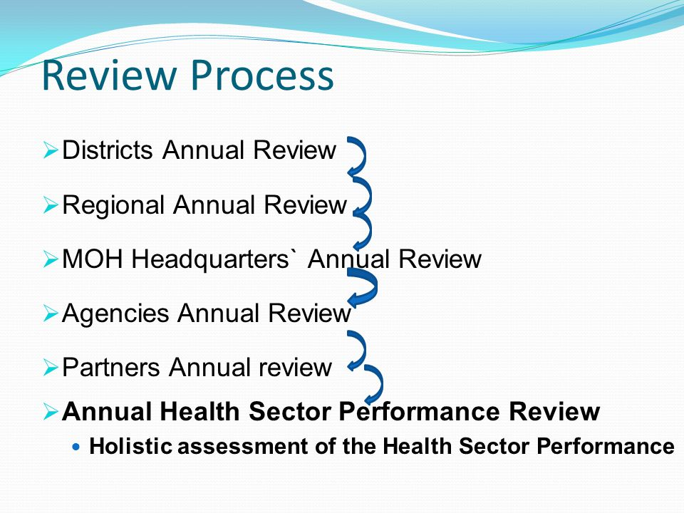 Review Process Districts Annual Review Regional Annual Review MOH Headquarters` Annual Review Agencies Annual Review Partners Annual review Annual Health Sector Performance Review Holistic assessment of the Health Sector Performance