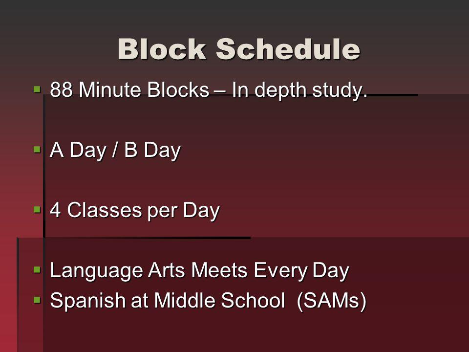 Block Schedule 88 Minute Blocks – In depth study. 88 Minute Blocks – In depth study. A Day / B Day A Day / B Day 4 Classes per Day 4 Classes per Day L