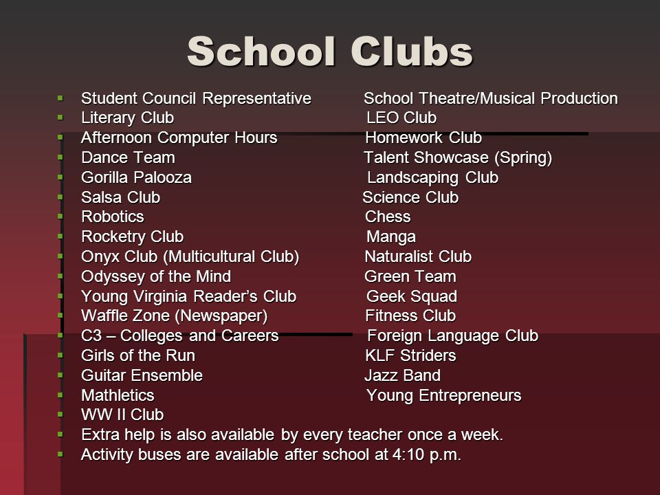 School Clubs Student Council Representative School Theatre/Musical Production Student Council Representative School Theatre/Musical Production Literar