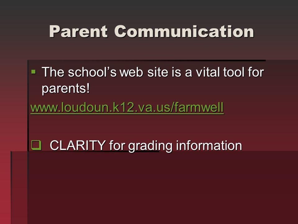 Parent Communication The schools web site is a vital tool for parents! The schools web site is a vital tool for parents! www.loudoun.k12.va.us/farmwel