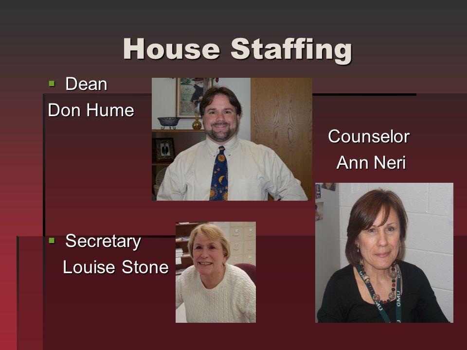 House Staffing Dean Dean Don Hume Counselor Ann Neri Ann Neri Secretary Secretary Louise Stone Louise Stone