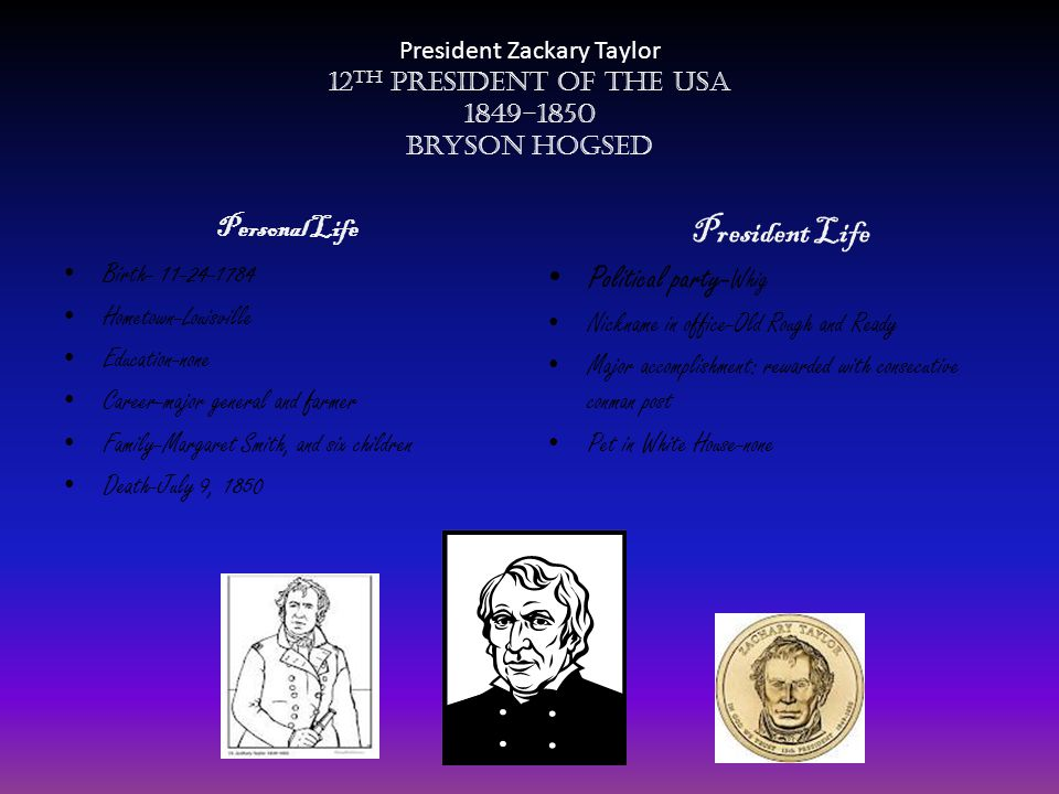 President Zackary Taylor 12 th President of the USA 1849-1850 Bryson Hogsed Personal Life Birth- 11-24-1784 Hometown-Louisville Education-none Career-