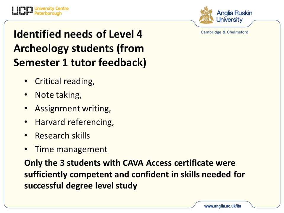 Identified needs of Level 4 Archeology students (from Semester 1 tutor feedback) Critical reading, Note taking, Assignment writing, Harvard referencing, Research skills Time management Only the 3 students with CAVA Access certificate were sufficiently competent and confident in skills needed for successful degree level study