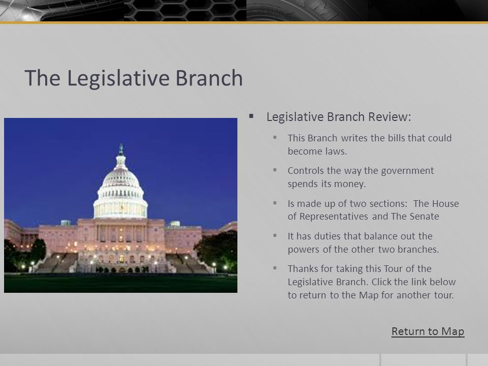 The Legislative Branch Legislative Branch Review: This Branch writes the bills that could become laws. Controls the way the government spends its mone
