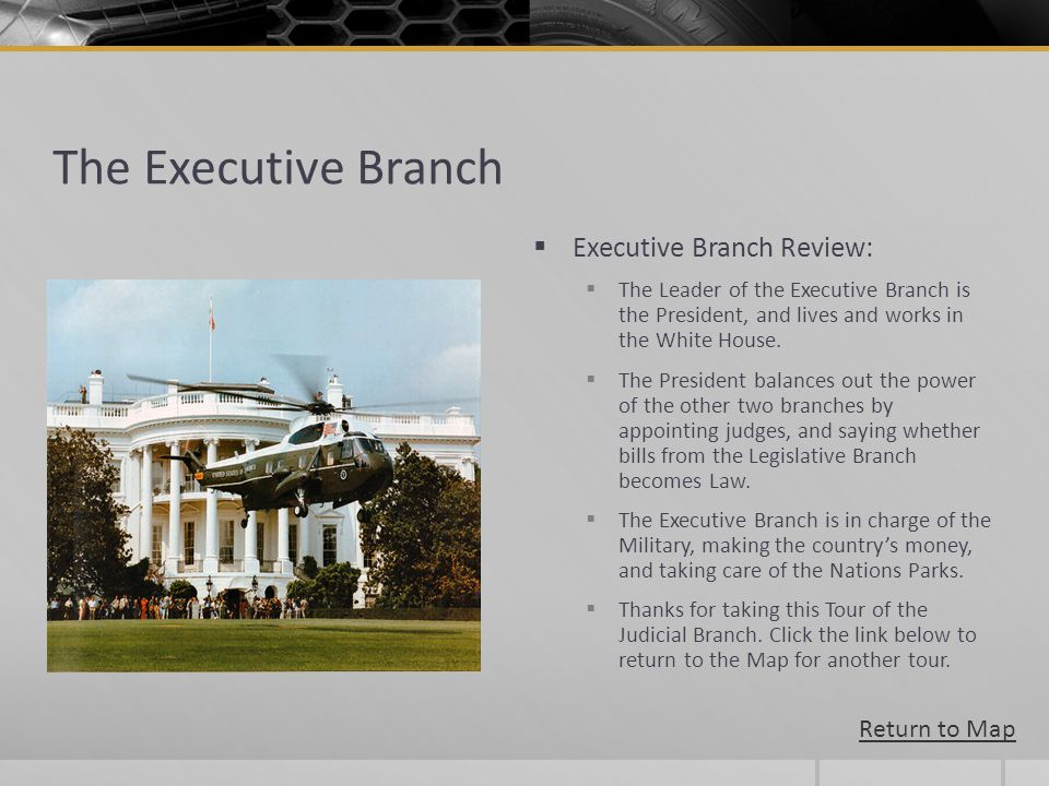 The Executive Branch Executive Branch Review: The Leader of the Executive Branch is the President, and lives and works in the White House. The Preside