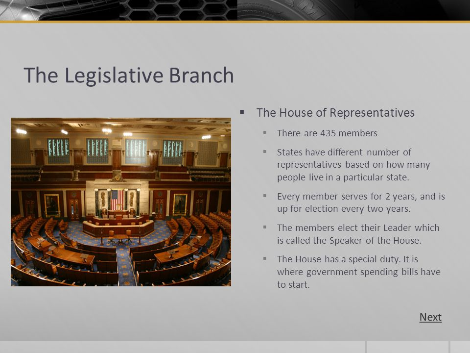 The Legislative Branch The House of Representatives There are 435 members States have different number of representatives based on how many people liv
