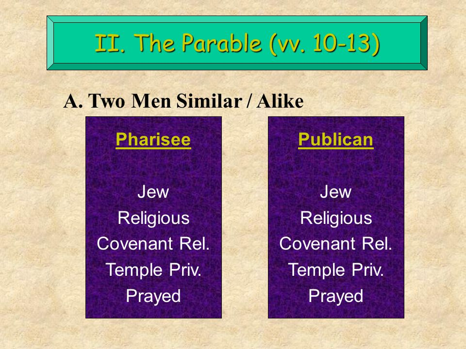 II. The Parable (vv. 10-13) A. Two Men Similar / Alike Pharisee Jew Religious Covenant Rel. Temple Priv. Prayed Publican Jew Religious Covenant Rel. T