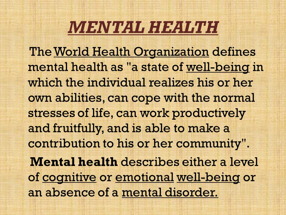 MENTAL HEALTH ISSUES Individual adjustment problems External factors Divorce and marital problems Depression and suicide attempts Difficulties with family or children Legal and financial problems