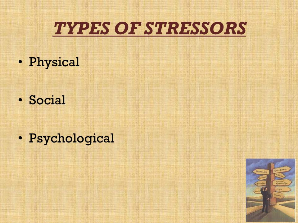 TYPES OF STRESSORS Physical Social Psychological