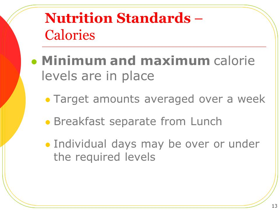 Nutrition Standards – Calories Minimum and maximum calorie levels are in place Target amounts averaged over a week Breakfast separate from Lunch Individual days may be over or under the required levels 13