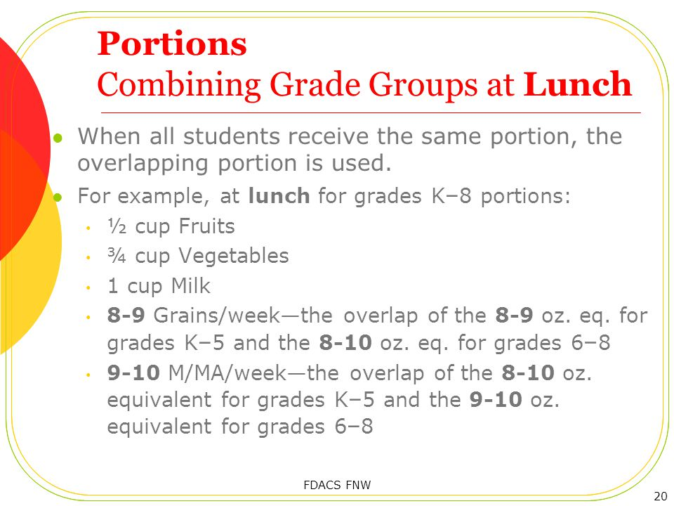 Portions Combining Grade Groups at Lunch When all students receive the same portion, the overlapping portion is used.