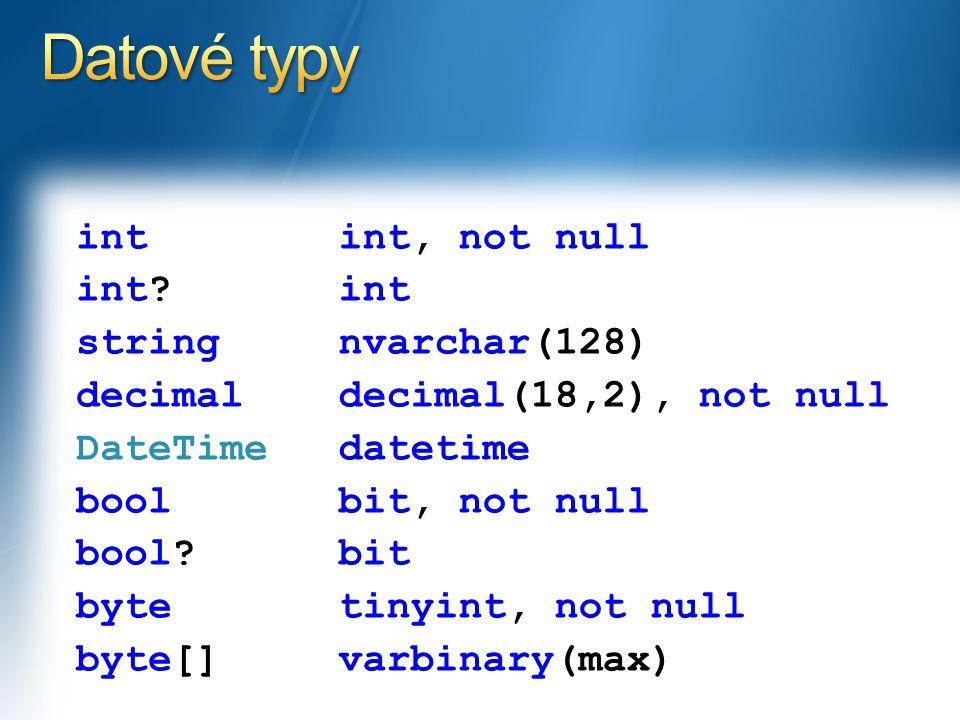 int int. string decimal DateTime bool bool.