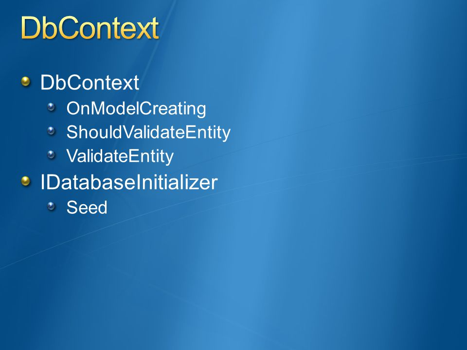DbContext OnModelCreating ShouldValidateEntity ValidateEntity IDatabaseInitializer Seed