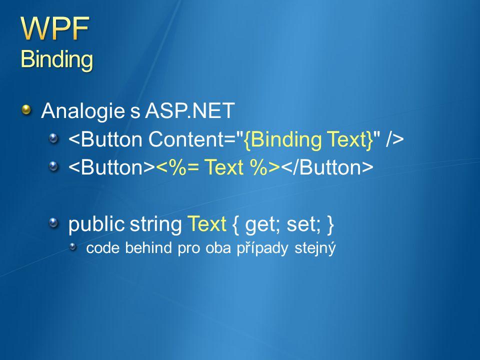 Analogie s ASP.NET public string Text { get; set; } code behind pro oba případy stejný