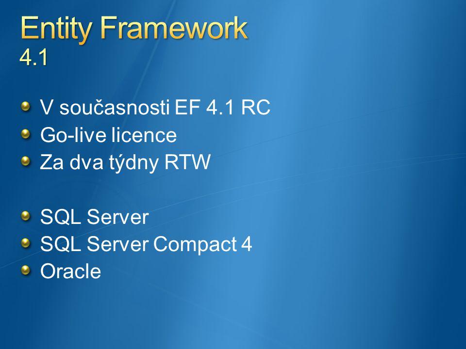 V současnosti EF 4.1 RC Go-live licence Za dva týdny RTW SQL Server SQL Server Compact 4 Oracle