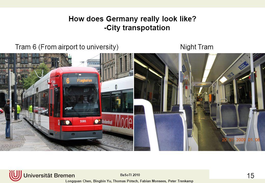 BaSoTI 2010 Longquan Chen, Bingbin Yu, Thomas Pötsch, Fabian Monsees, Peter Trenkamp 14 How does Germany really look like.