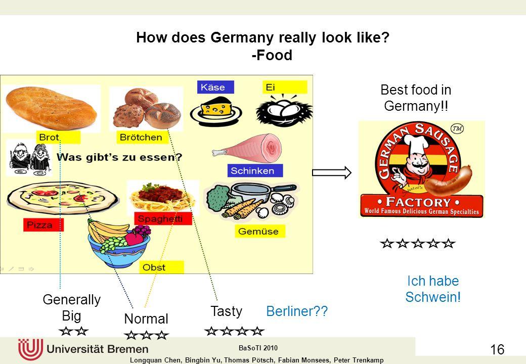 BaSoTI 2010 Longquan Chen, Bingbin Yu, Thomas Pötsch, Fabian Monsees, Peter Trenkamp How does Germany really look like.