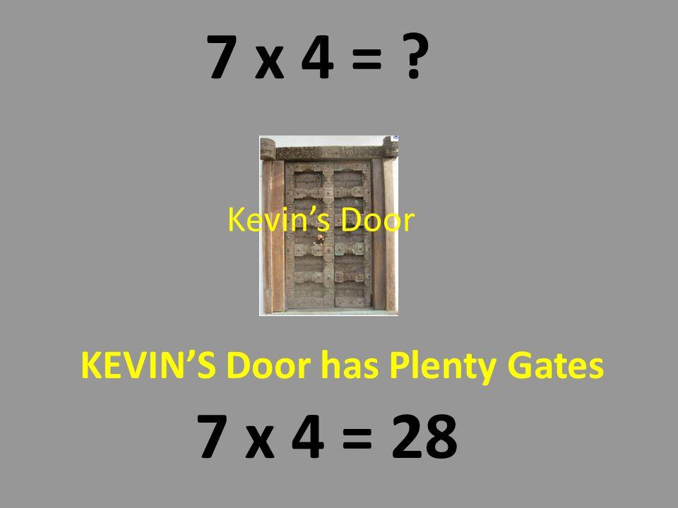 KEVINS DOOR has PLENTY GATES 7 x 4 = 28 Kevin always wanted a special door to his room.