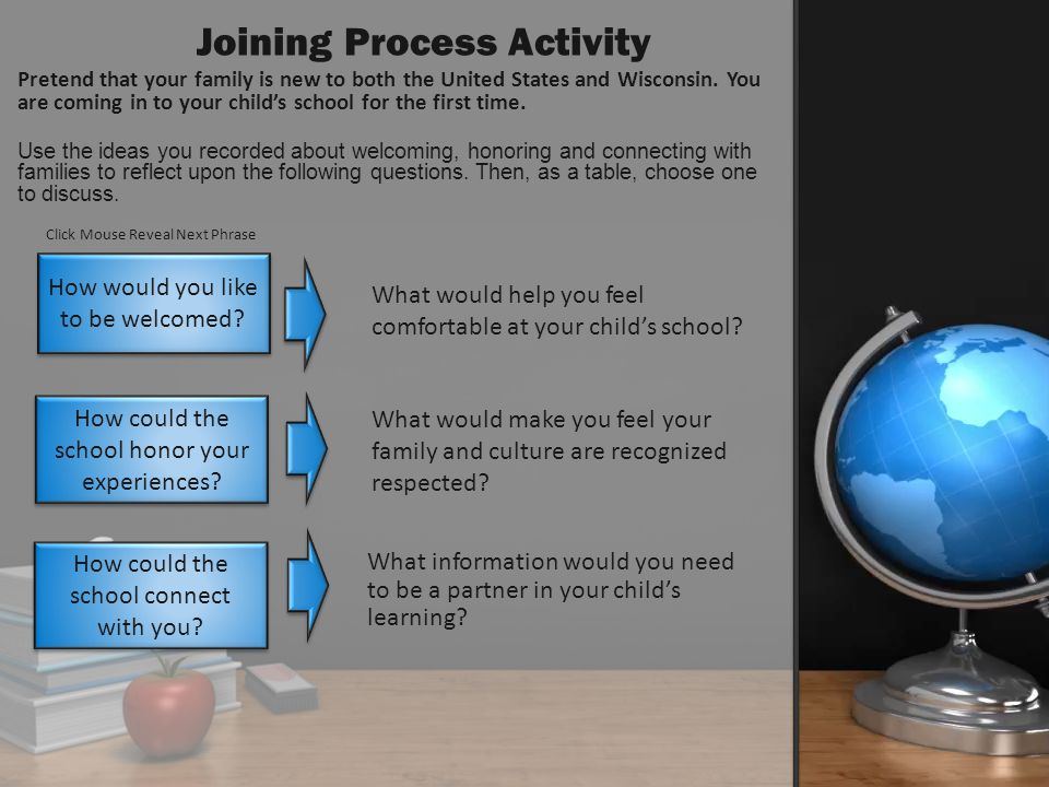 What would help you feel comfortable at your childs school? What would make you feel your family and culture are recognized respected? What informatio