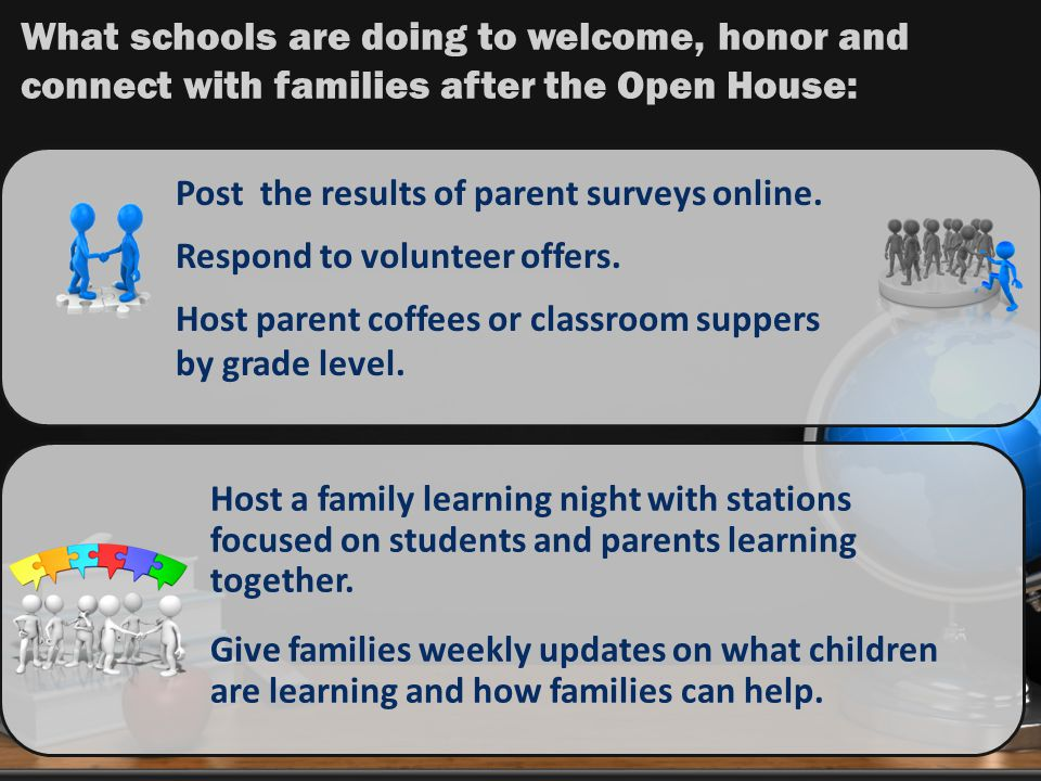Post the results of parent surveys online.Respond to volunteer offers.