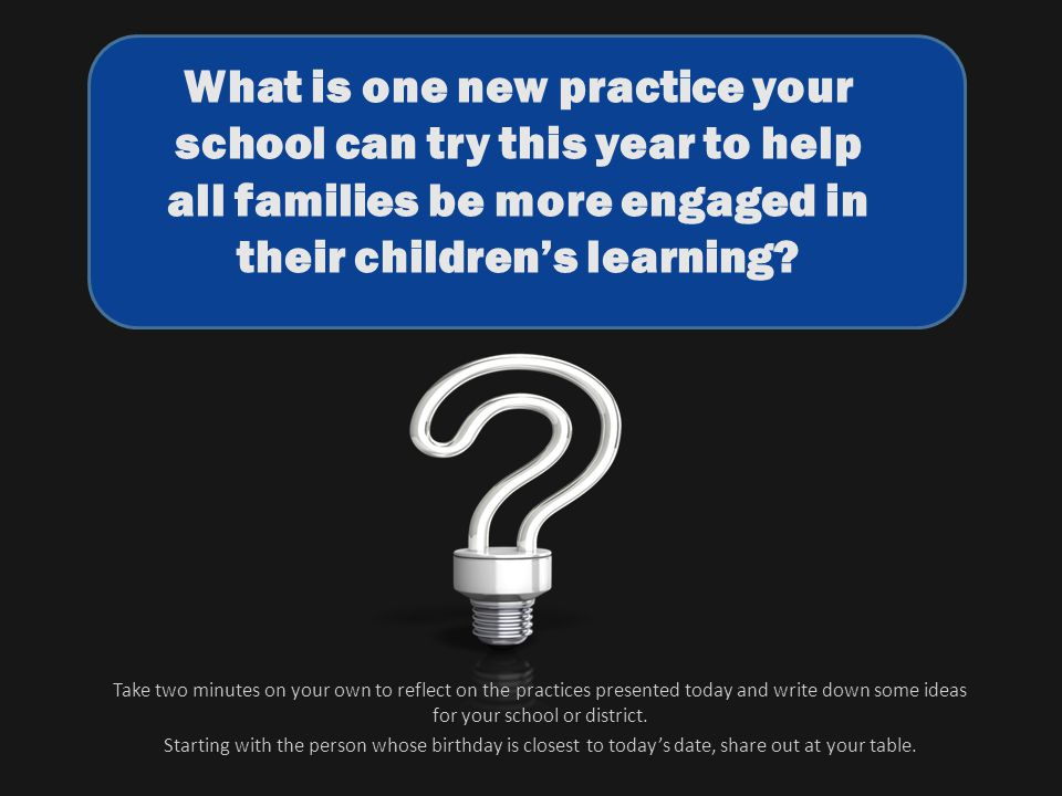 What is one new practice your school can try this year to help all families be more engaged in their childrens learning? Take two minutes on your own