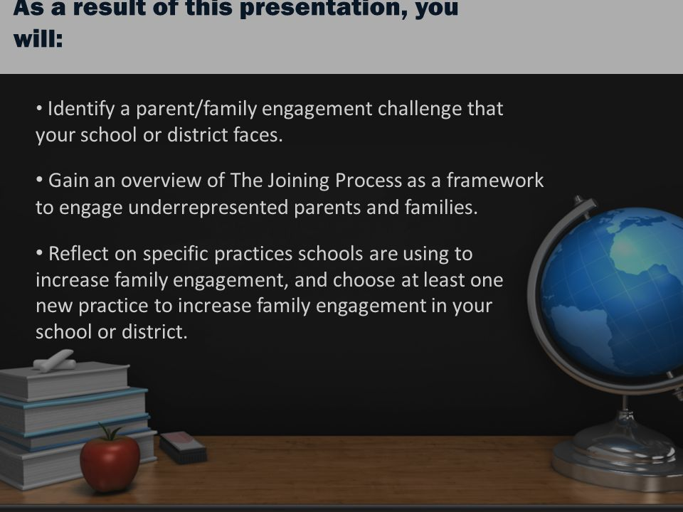 As a result of this presentation, you will: Identify a parent/family engagement challenge that your school or district faces.