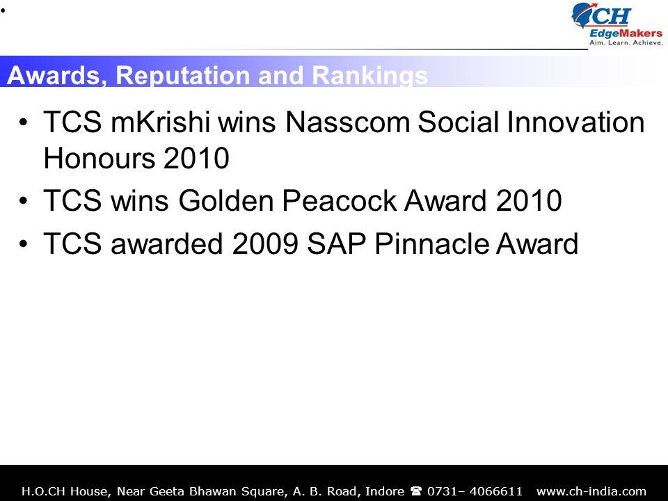 H.O.CH House, Near Geeta Bhawan Square, A. B. Road, Indore 0731– 4066611 www.ch-india.com Awards, Reputation and Rankings TCS mKrishi wins Nasscom Soc