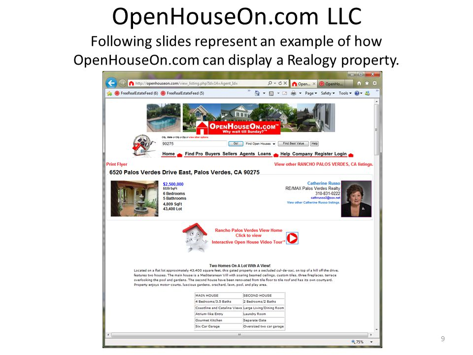 OpenHouseOn.com LLC Following slides represent an example of how OpenHouseOn.com can display a Realogy property. 9