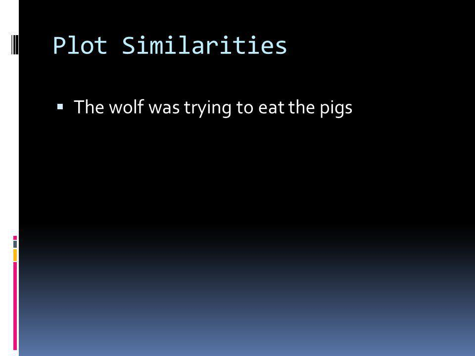 Plot Differences The True Story of the 3 Little Pigs The Three Pigs The wolf needs to make a birthday cake for his granny.