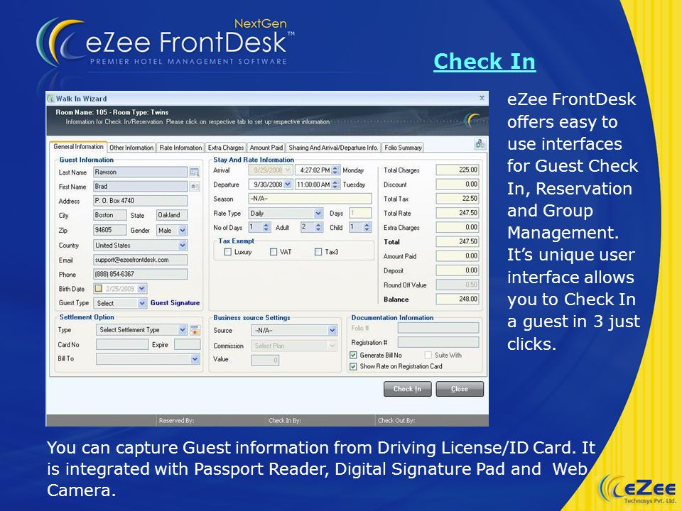 eZee FrontDesk offers easy to use interfaces for Guest Check In, Reservation and Group Management.