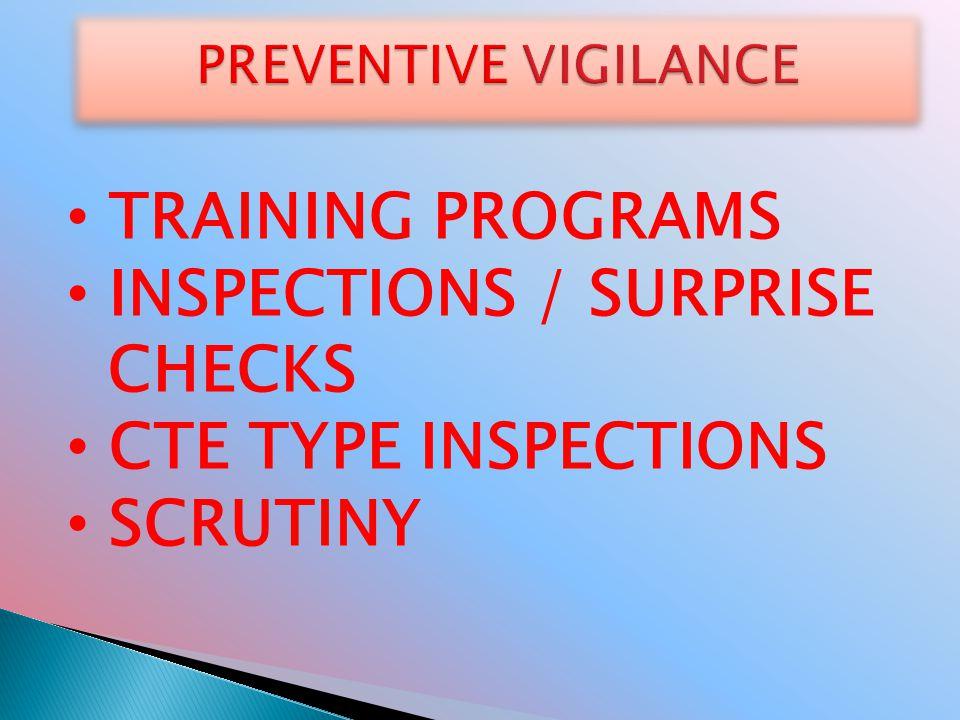 TRAINING PROGRAMS INSPECTIONS / SURPRISE CHECKS CTE TYPE INSPECTIONS SCRUTINY