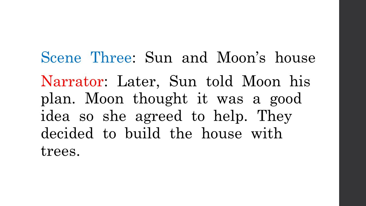 Moon: I gathered the wood and put it all together.