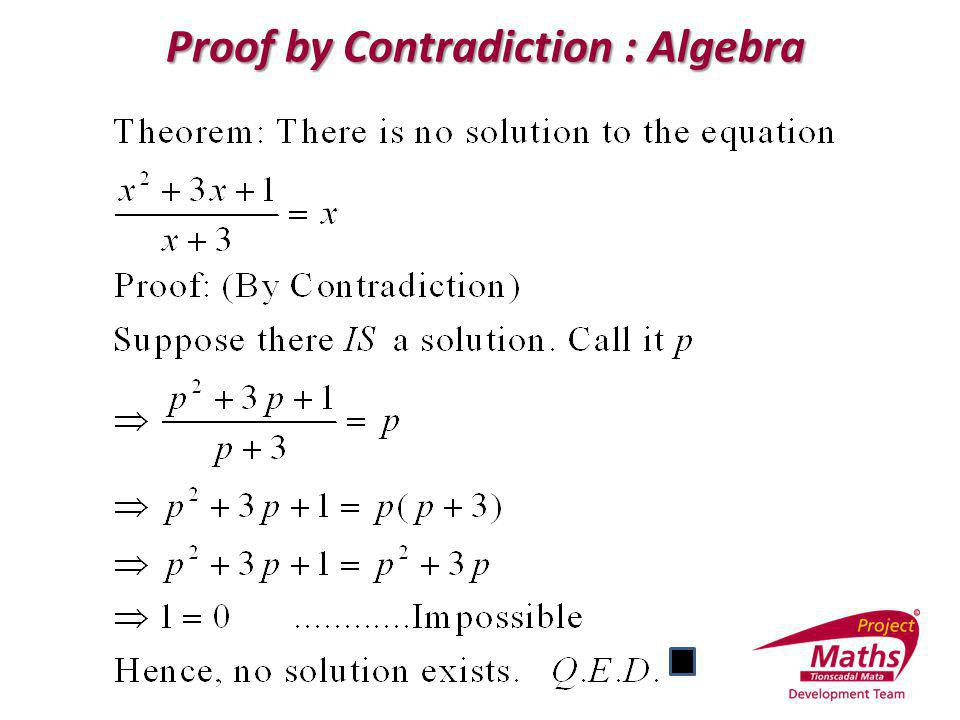 Proof by Contradiction : Algebra Proof by Contradiction : Algebra