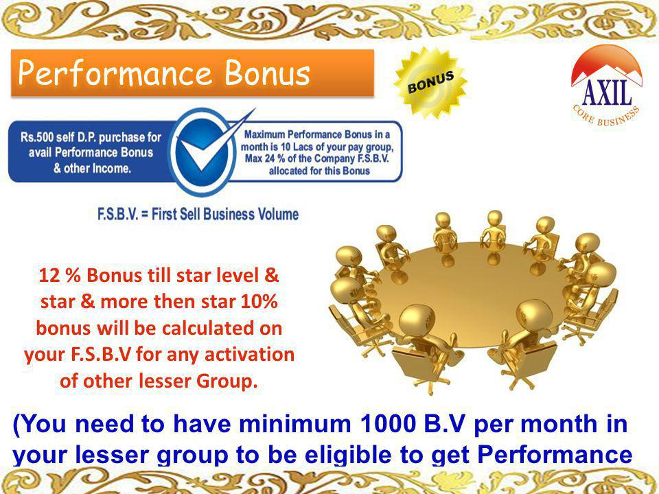 (You need to have minimum 1000 B.V per month in your lesser group to be eligible to get Performance Bonus.) 12 % Bonus till star level & star & more t