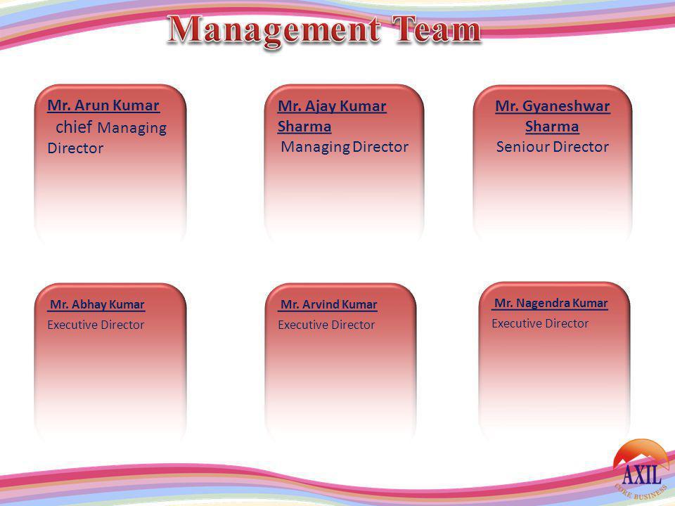 Mr. Arun Kumar chief Managing Director Mr. Ajay Kumar Sharma Managing Director Mr. Gyaneshwar Sharma Seniour Director Mr. Abhay Kumar Executive Direct