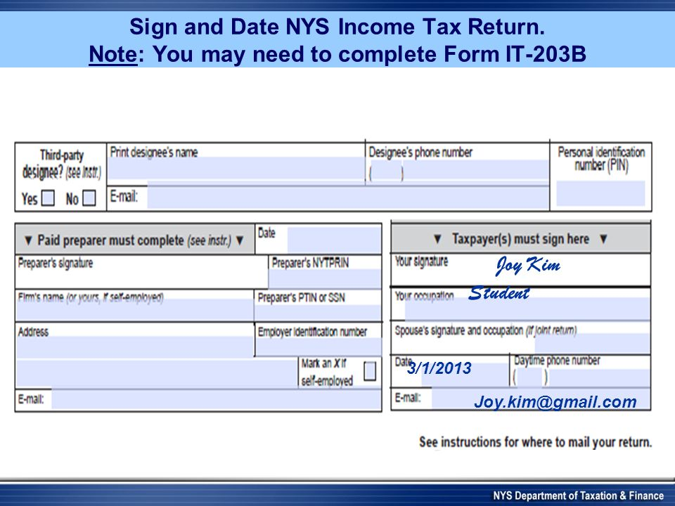 Sign and Date NYS Income Tax Return.
