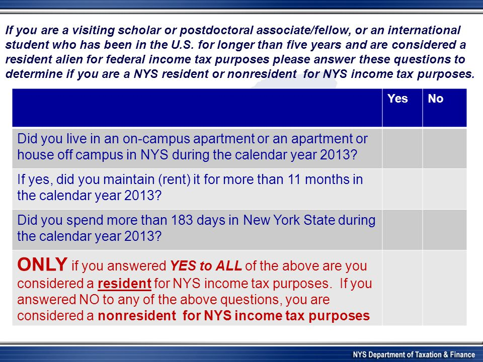YesNo Did you live in an on-campus apartment or an apartment or house off campus in NYS during the calendar year 2013.